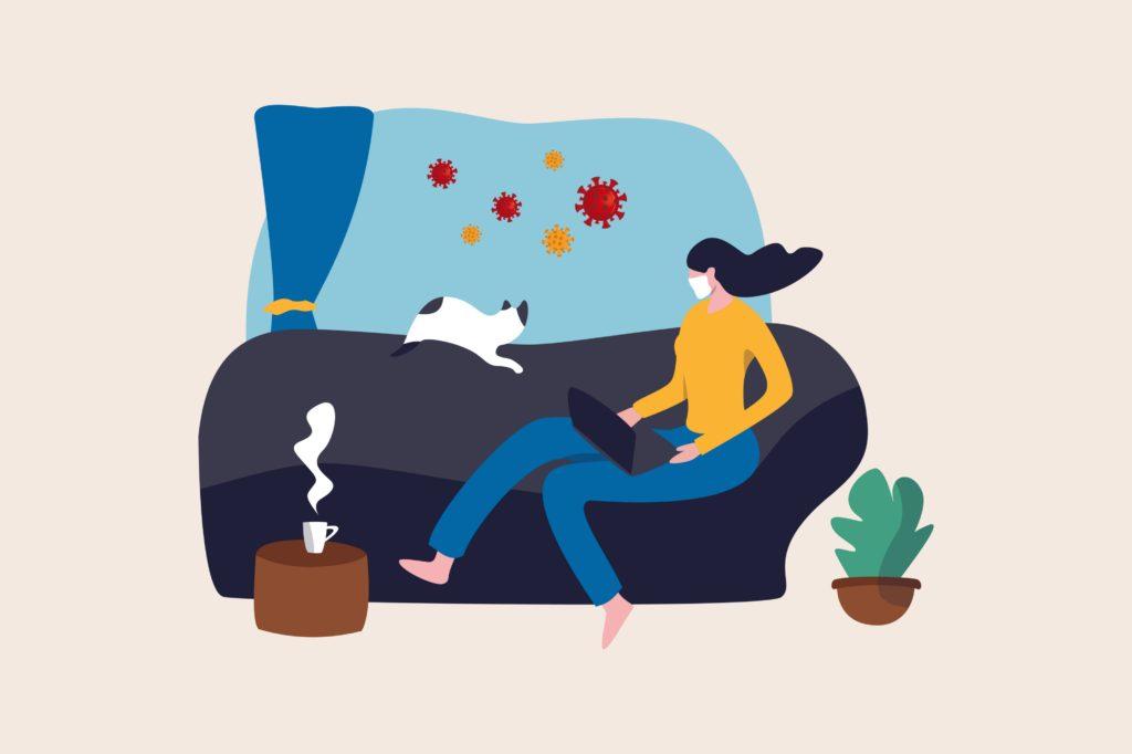 Ilustração vetorial com conceito de trabalhar em casa durante a quarentena de coronavírus