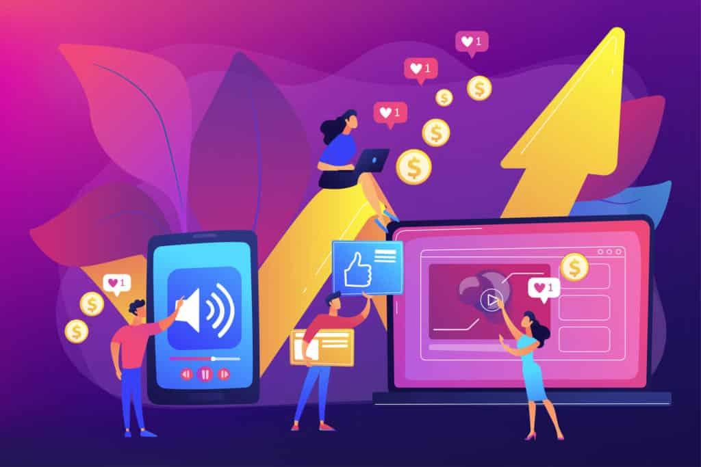 Ilustração vetorial com conceito de ROI (retorno sobre o investimento) e SMM (marketing nas redes sociais)