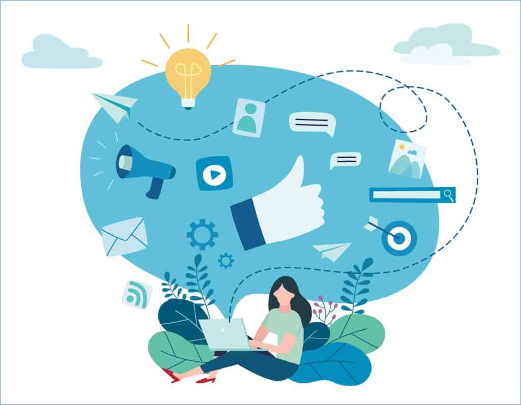 Ilustração vetorial com conceito de aprendizagem de marketing digital e tráfego orgânico