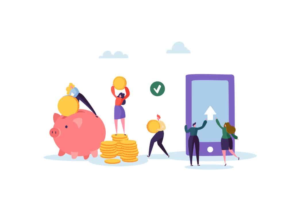 Ilustração vetorial com conceito de ganhar dinheiro na internet e guardar em um banco virtual
