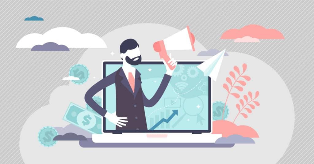 Ilustração vetorial com conceito de atrair clientes através da divulgação e promoção de marketing de afiliados