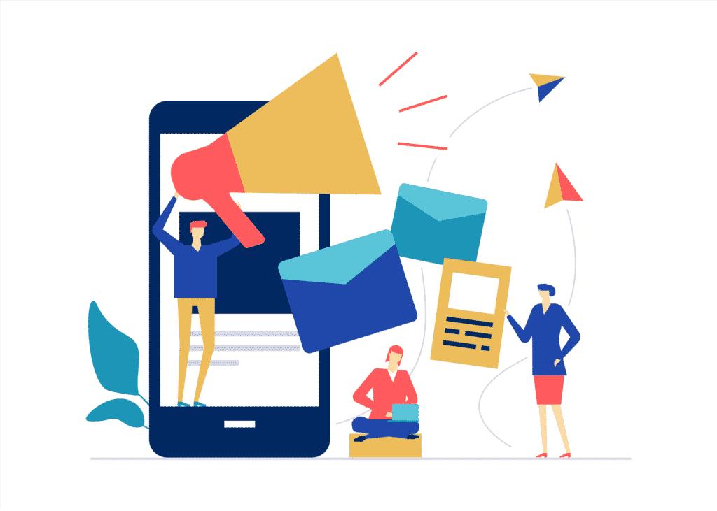 Ilustração vetorial com conceito de pessoas trabalhando com marketing digital